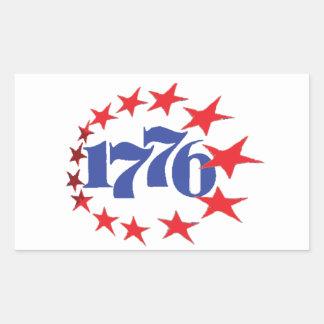 AÑO DE NUESTRA INDEPENDENCIA 1776 PEGATINA RECTANGULAR