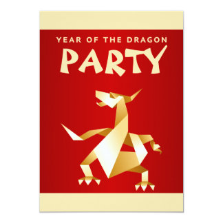 """Año de Origami del oro del dragón en el fiesta Invitación 5"""" X 7"""""""