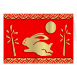 Año de oro de la tarjeta del conejo