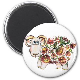 Año de una oveja - pintura de Petrykivsky del Imán Redondo 5 Cm