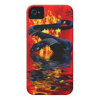 Año del Año Nuevo chino de la serpiente del negro iPhone 4 Protector
