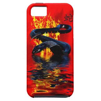 Año del Año Nuevo chino de la serpiente del negro iPhone 5 Carcasa