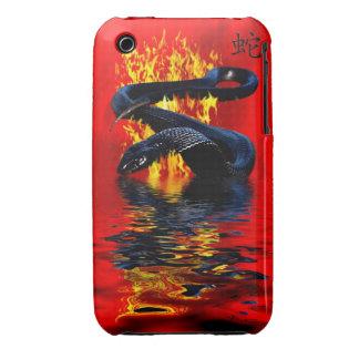 Año del Año Nuevo chino de la serpiente del negro iPhone 3 Case-Mate Carcasa