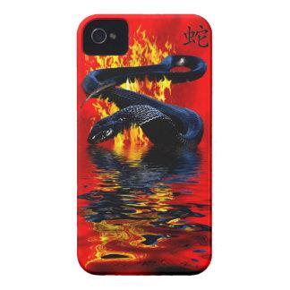 Año del Año Nuevo chino de la serpiente del negro Case-Mate iPhone 4 Carcasas