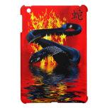 Año del Año Nuevo chino de la serpiente del negro  iPad Mini Fundas