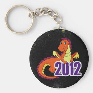 Año del Año Nuevo chino del dragón 2012 Llavero Redondo Tipo Pin