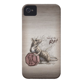 Año del arte chino del zodiaco de la rata iPhone 4 protectores