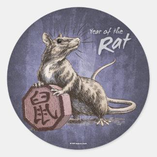 Año del arte chino del zodiaco de la rata pegatina redonda