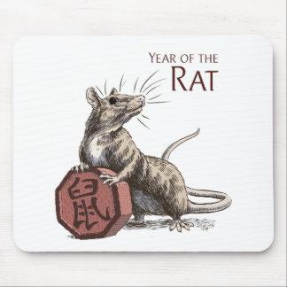 Año del arte chino del zodiaco de la rata mouse pad