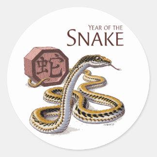 Año del arte chino del zodiaco de la serpiente pegatina redonda