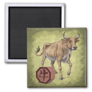 Año del arte chino del zodiaco del buey imán cuadrado
