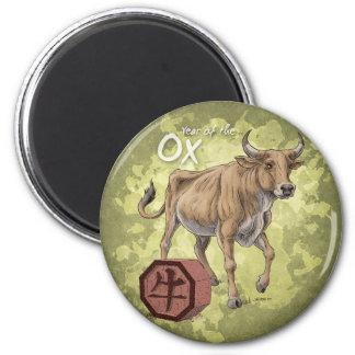 Año del arte chino del zodiaco del buey imán redondo 5 cm