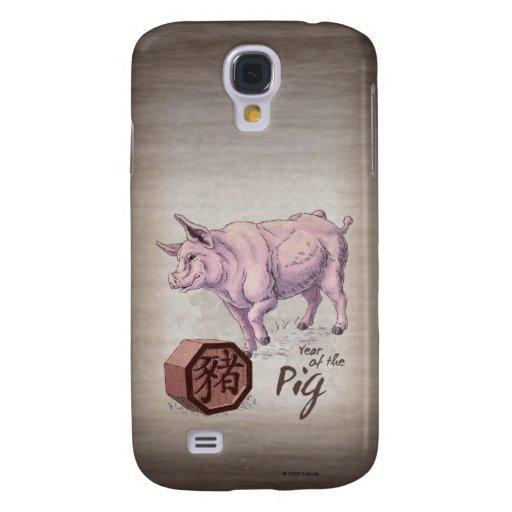 Año del arte chino del zodiaco del cerdo (verraco) funda para galaxy s4