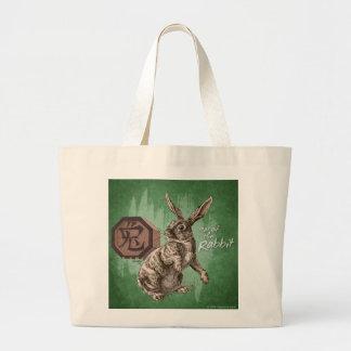 Año del arte chino del zodiaco del conejo bolsa tela grande