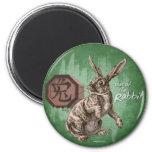Año del arte chino del zodiaco del conejo imán redondo 5 cm