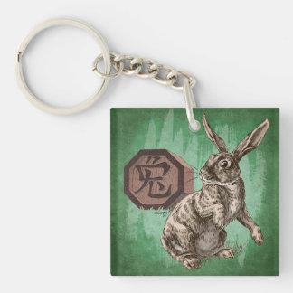Año del arte chino del zodiaco del conejo llavero cuadrado acrílico a doble cara