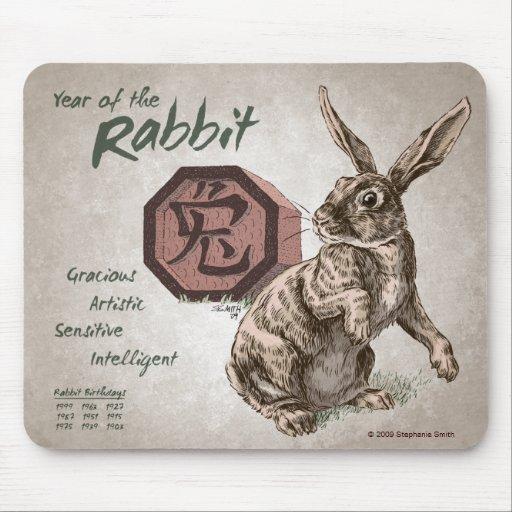 Año del arte chino del zodiaco del conejo alfombrilla de ratón