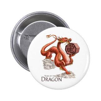 Año del arte chino del zodiaco del dragón chapa redonda 5 cm