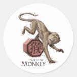 Año del arte chino del zodiaco del mono pegatina redonda