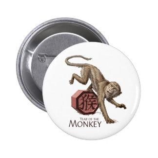 Año del arte chino del zodiaco del mono pin redondo 5 cm