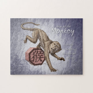 Año del arte chino del zodiaco del mono puzzles con fotos