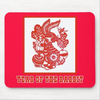 Año del arte del corte del papel chino del conejo alfombrilla de ratón