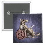 Año del botón del cuadrado de la rata - fondo púrp pins