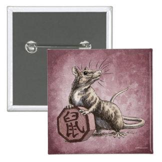 Año del botón del cuadrado de la rata - fondo rojo pins
