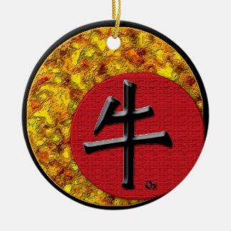 Año del buey: 2009 adorno navideño redondo de cerámica