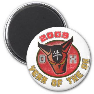 Año del buey - 2009 imán redondo 5 cm