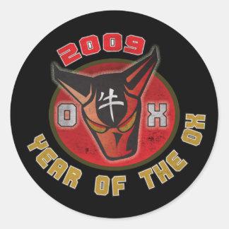 Año del buey - 2009 etiqueta redonda