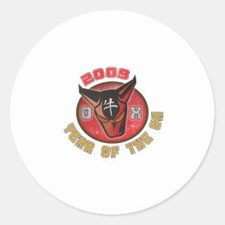 Año del buey - 2009 etiquetas redondas
