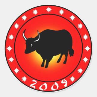 Año del buey 2009 pegatina redonda