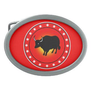 Año del buey hebilla cinturon oval