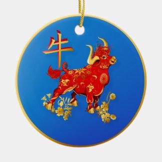 Año del buey ornamento para arbol de navidad