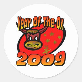 Año del buey pegatina redonda