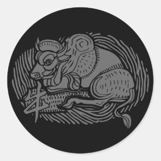 año del buey etiqueta redonda