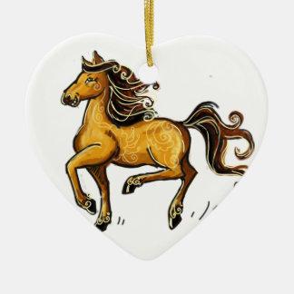 Año del caballo 2014 adorno navideño de cerámica en forma de corazón