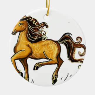 Año del caballo 2014 adorno navideño redondo de cerámica