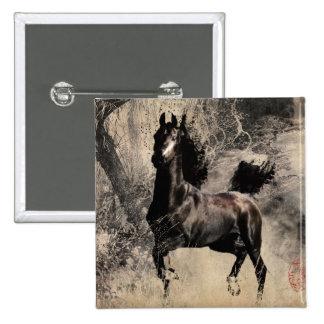 Año del caballo 2014 - arte de la pintura china pin cuadrada 5 cm