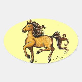 Año del caballo 2014 pegatina ovalada