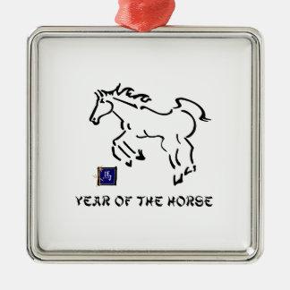 Año del caballo adorno navideño cuadrado de metal