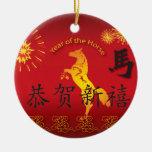 Año del caballo con el caballo de oro ornato