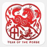 Año del caballo Papercut Calcomanías Cuadradases