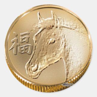 Año del caballo pegatina redonda