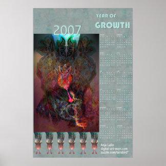 Año del calendario 2007 del poster del crecimiento