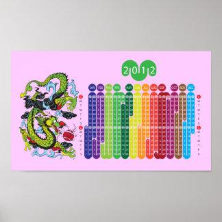 Año del calendario del dragón 2012 para los niños  póster
