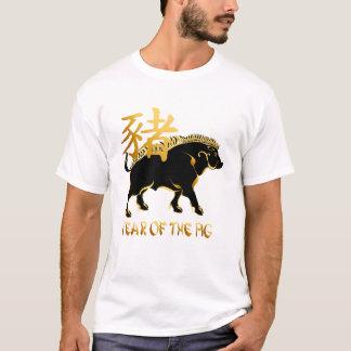 Año del camisetas Cerdo-Negro del símbolo del