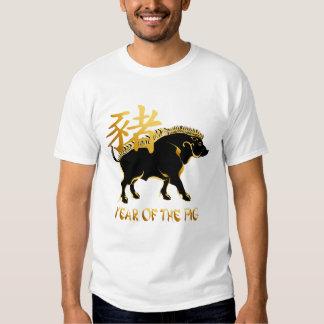 Año del camisetas Cerdo-Negro del símbolo del Remeras