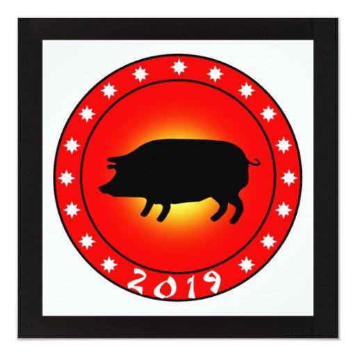 Año del cerdo 2019 invitación 13,3 cm x 13,3cm
